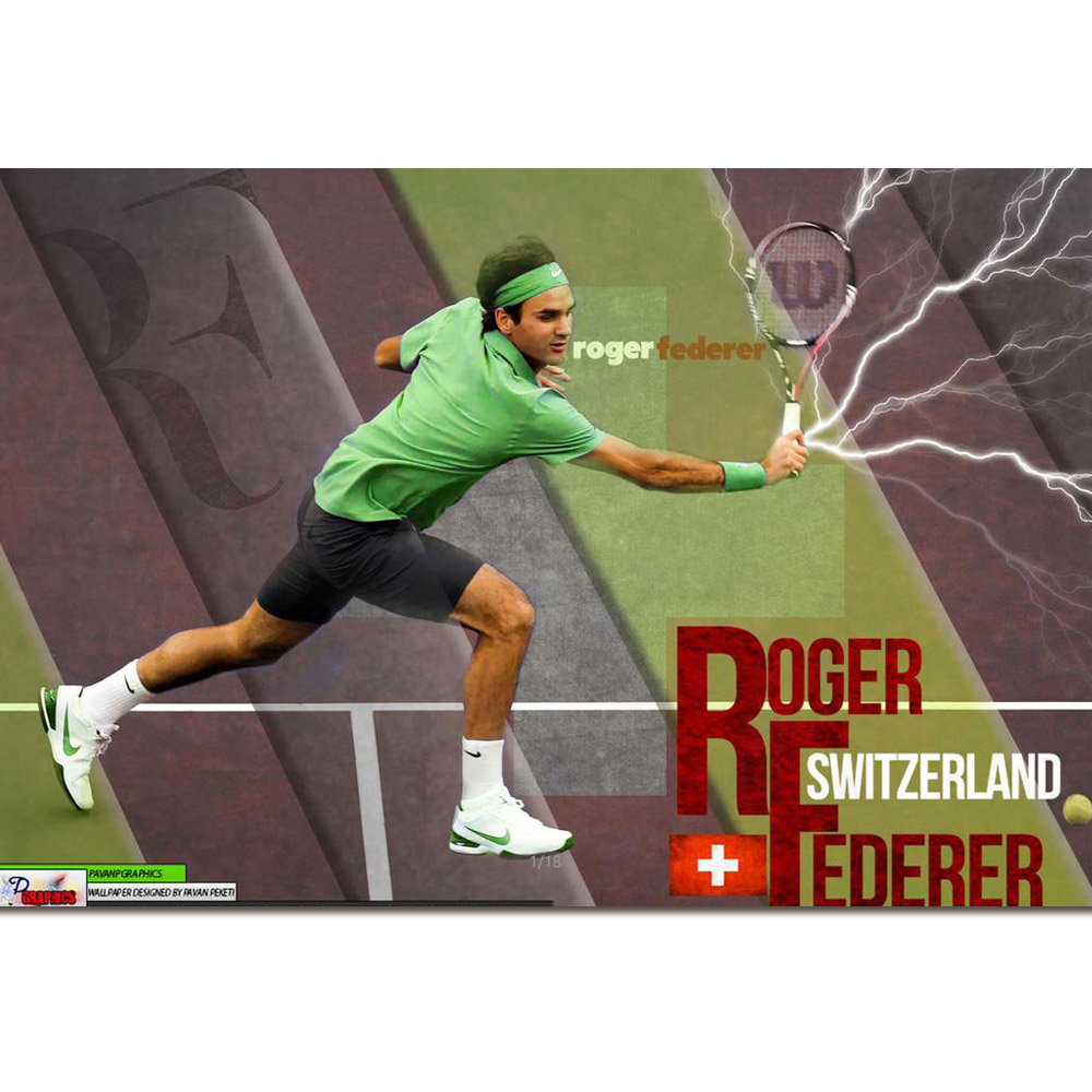 """Roger Federer poster wall art home decoration photo print 24/"""" x 24/"""" inches"""