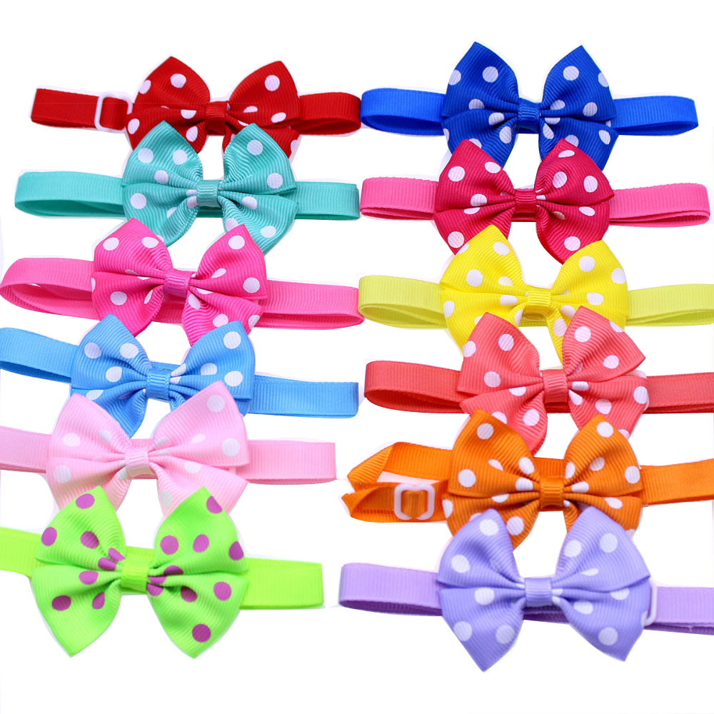 New 50pcs Dog Pet Neck Accessories Dot Designs Pet Cat Bows Bowties Puppy Pet Ribbon Bow Tie Cute Pet Grooming Products