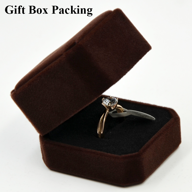 Rose Gold Titanium Steel Engagement ring wedding rings for women band cz jewelry cubic zirconia With Gift Box Packaging