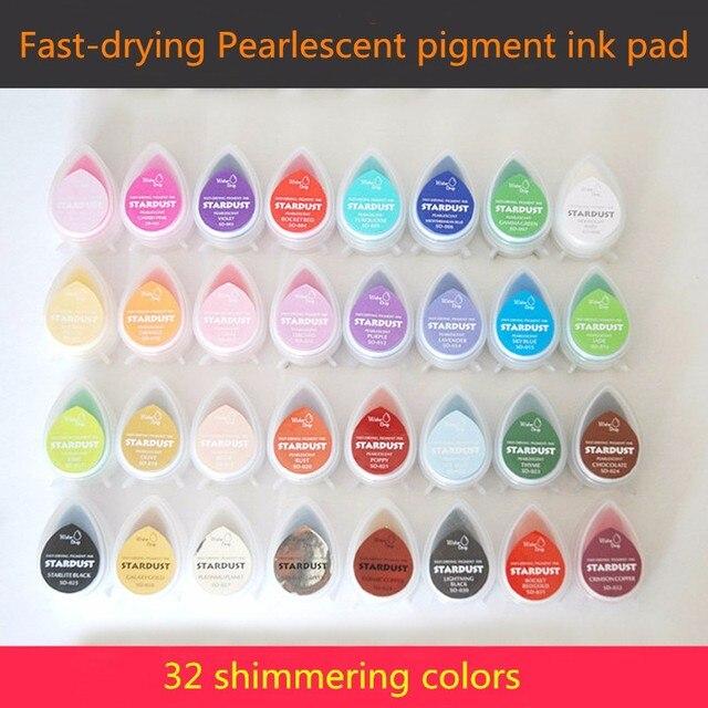 (10 개/몫) 진주 빛 안료 비트 반짝임 잉크 패드 반짝 이는 색상 반짝이 잉크 패드 장식/스탬핑