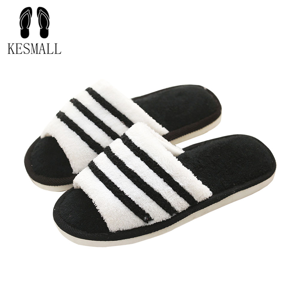 KESMALL Fur Slippers Men Shoes Indoor Home Slippers Lovers Plush Floor Soft Slippers Stripe Balck White Shoes Boy Shoes W255 fghgf shoes men s slippers mak