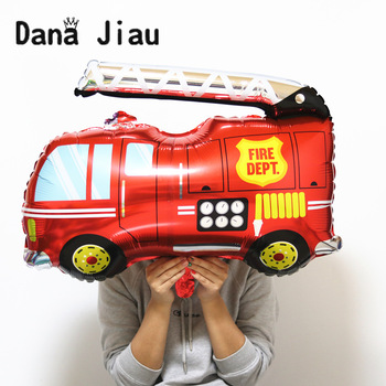 80*87cm Big Fire Car Foil Balloon Kids Hero Gift Birthday Party Decoration Holiday Cartoon Tank Bus Plane Ambulance Balloons image