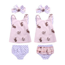 3PCS Set Newborn Toddler Baby Girl Clothes 2017 Summer Sleeveless Rabbit Printed Vest Back Cross Top+Ruffles Shorts Clothing Set
