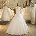 SL-1 Новое Прибытие-Линия Рукавов Тюль Кружева Аппликации Свадебное Платье 2017