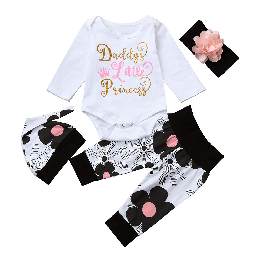 Girl Baby Clothing Newborn Infant Baby Girl Letter Romper Tops+Floral Pants Hat 4Pcs Clothes Set Roupa Menina