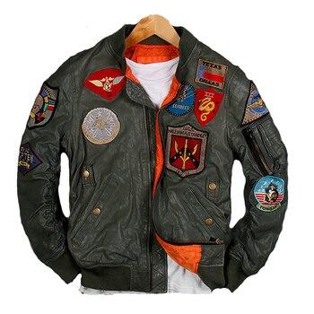 2019 hommes vert pilote en cuir veste grande taille 6XL véritable peau de mouton Slim Fit russe militaire aviateur en cuir manteau livraison gratuite