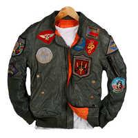 2019 Men Green Pilot Leather Jacket Plus Size 6XL Genuine Sheepskin Slim Fit Russian Military Aviator Leather Coat FREE SHIPPING