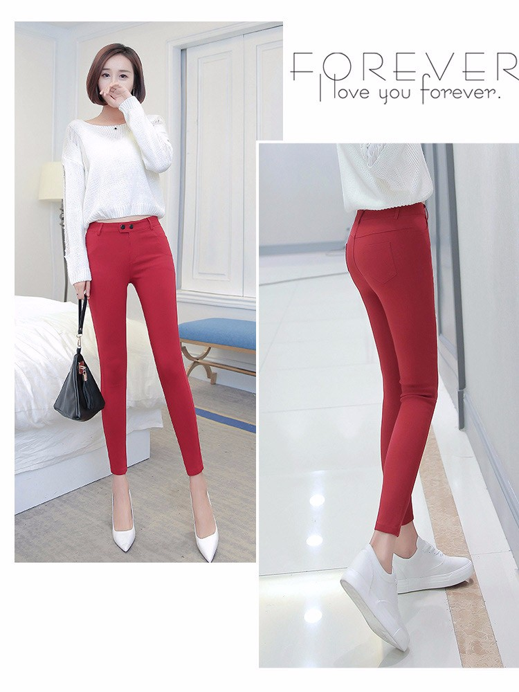 7 Colors Plus Size Pants Full Length Women Spring Autumn Pencil Pants Causal Slim High Waist Legging Stretch Trousers 2016 A663  d