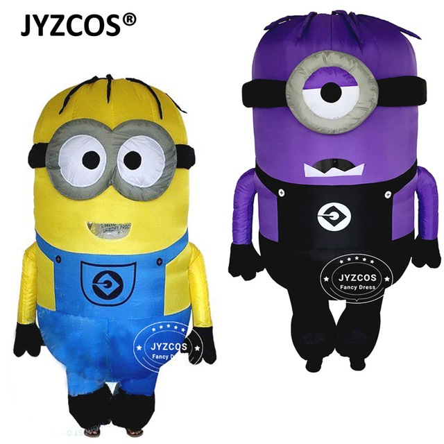 jyzcos cosplay party inflatable adult minion costume halloween despicable me christmas mascot men women fancy dress - Christmas Minion
