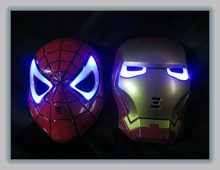6pcs/lot Halloween Hoilday Cosplay Mask Spider Man Mask With Led light Children Festival Iron Man mask for Masquerade Party