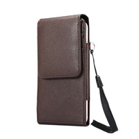 Man Outdoor Vertical Belt Clip Mobile Phone Synthetic Leather Case Card Pouch For Galaxy C9 Pro