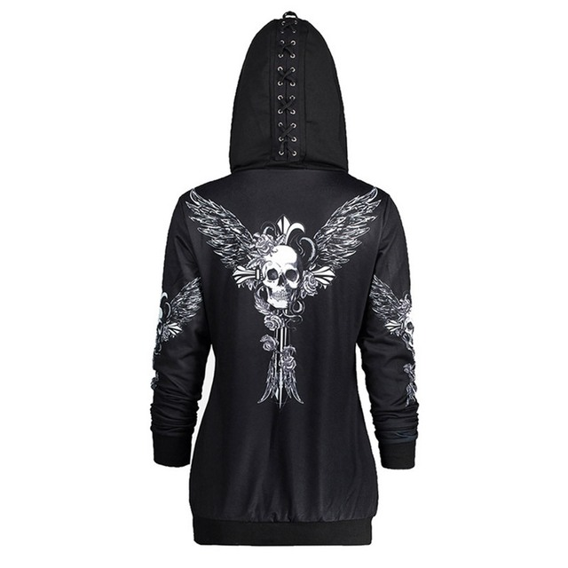 Gothic Skull Hooded Hoodies Sweatshirts Girls Halloween Coat Fashion Zipper  Fitness Cool Girls Black Goth Jacket Coat 4c5457eaace0