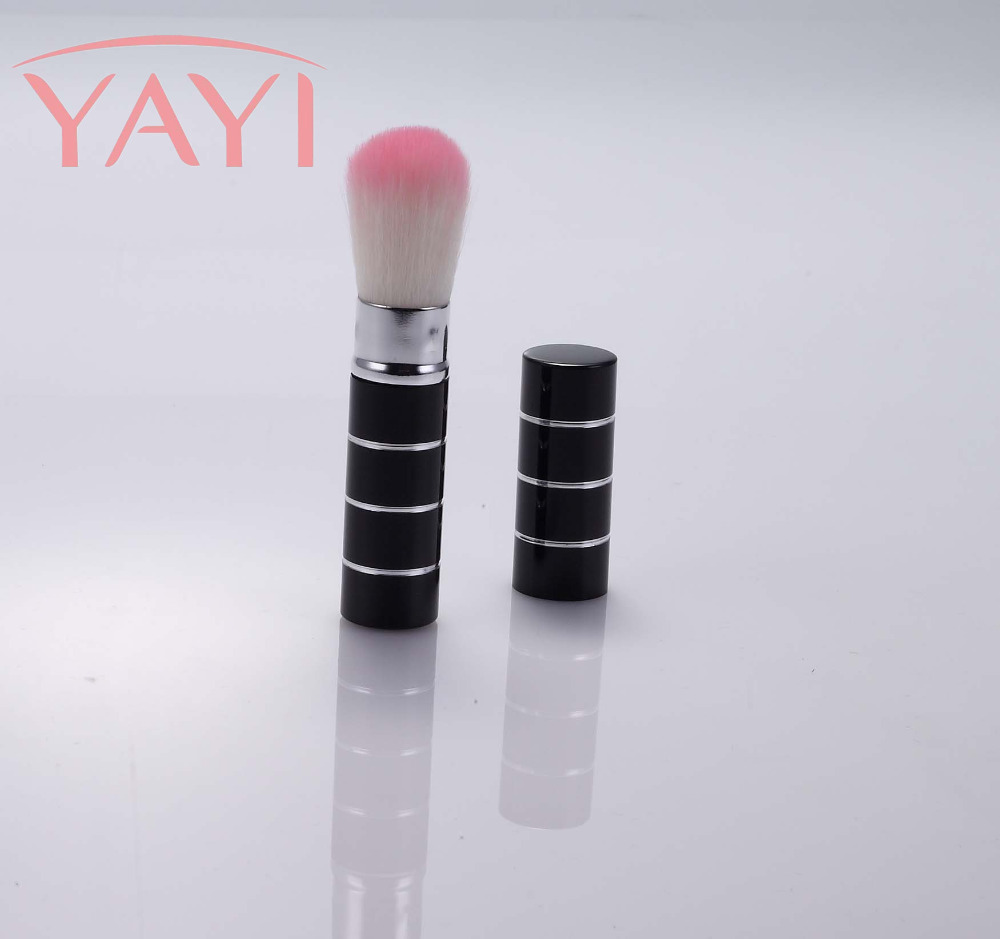 2PCS Customized Female 2018 Factory Price Private Label Charming Pink Aluminum Ferrule Retractable Makeup Brush Stock Wholesale