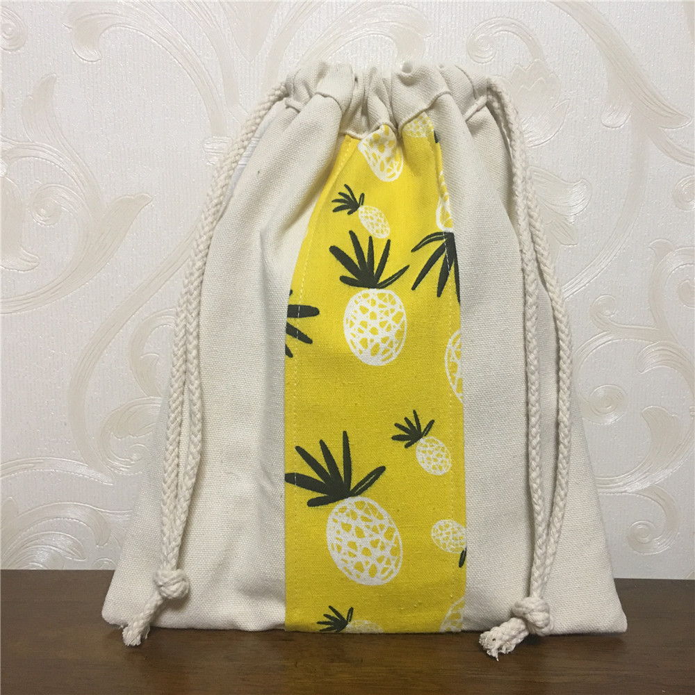 YILE Cotton Canvas Contrast Color Drawstring Travel Home Organizer Wrist Bag Pineapple Yellow 8203f
