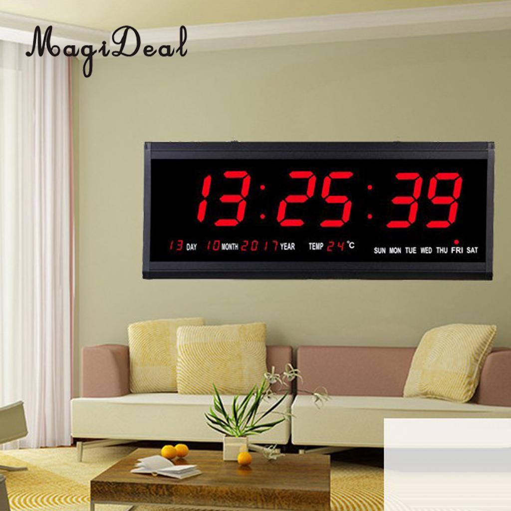 15'' Large Digital Led Wall Clock Watch Calendar Date Day 24H Display Plug In Clock Large LED Screen EU
