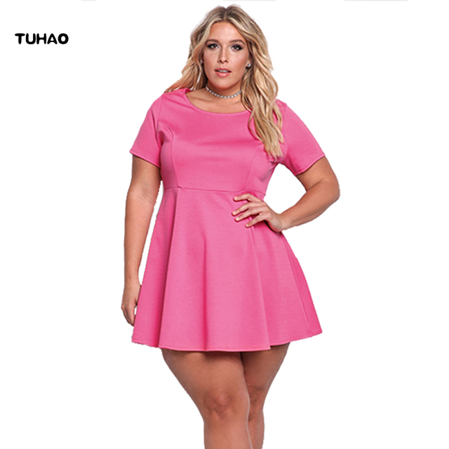 US $22.56 32% OFF TUHAO Women Retro Dress Plus Size 3XL 50s 60s Vintage  Rockabilly Swing Feminino Vestidos solid color 2018 casual Dresses BC47-in  ...