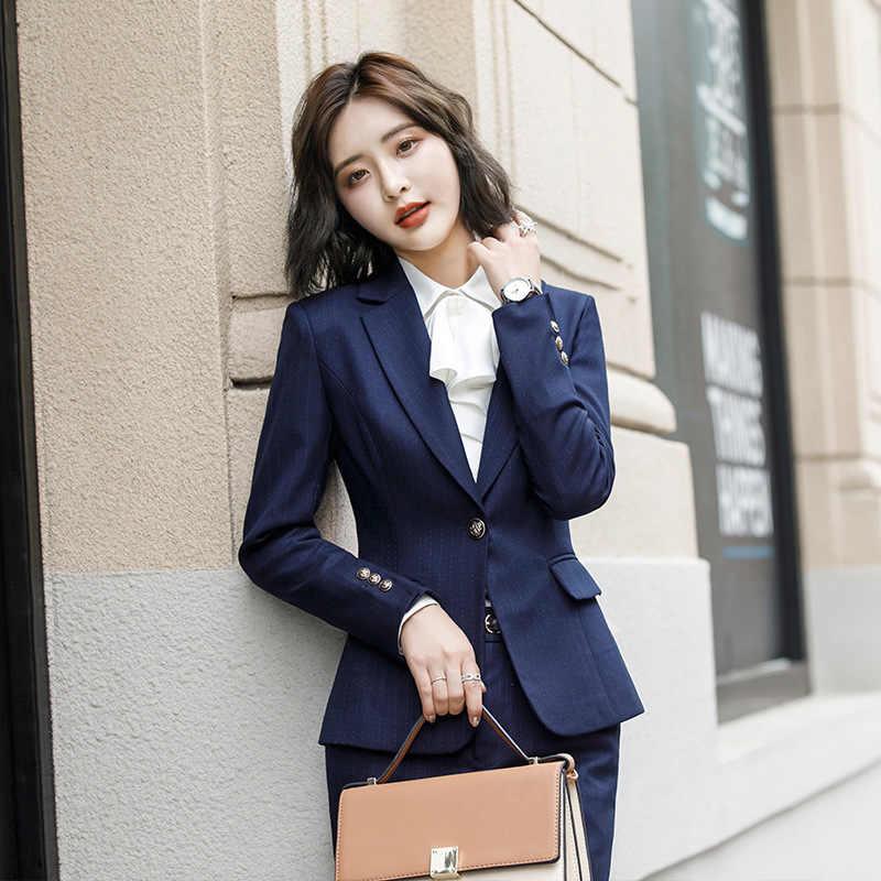 女性のスカートスーツとポケットエレガントなストライプスリムフィットブレザー + スカート 2 個、正式なキャリアスカートスーツオフィス服 XU973