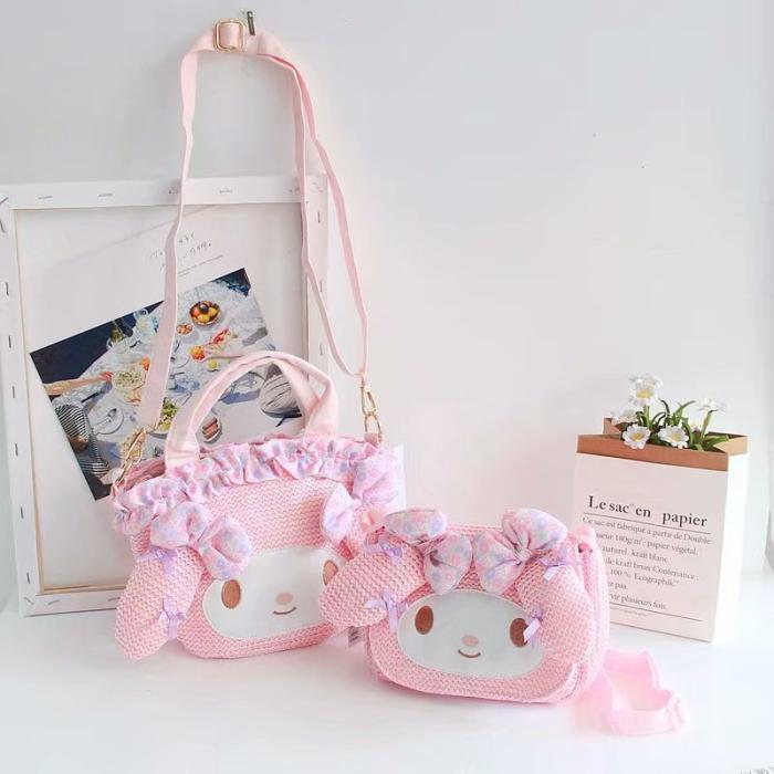New Cartoon My Melody Handbag Weaving Anime Bag Shoulder Bags For Girls Summer