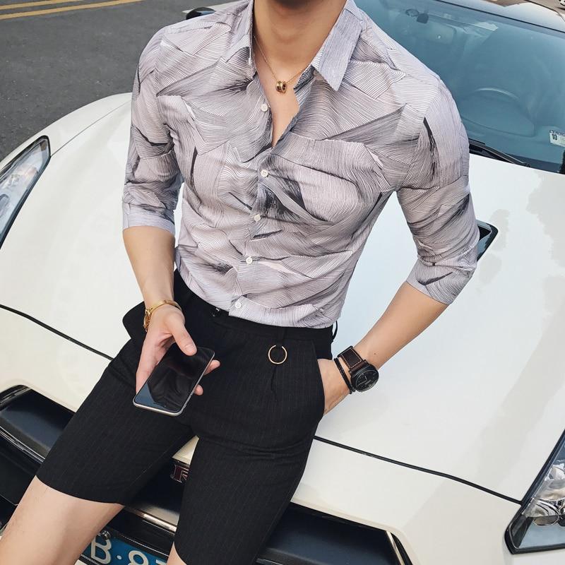 M-2XL!!!    2017   summer fashion personality fancy slim half sleeve shirt male shirt