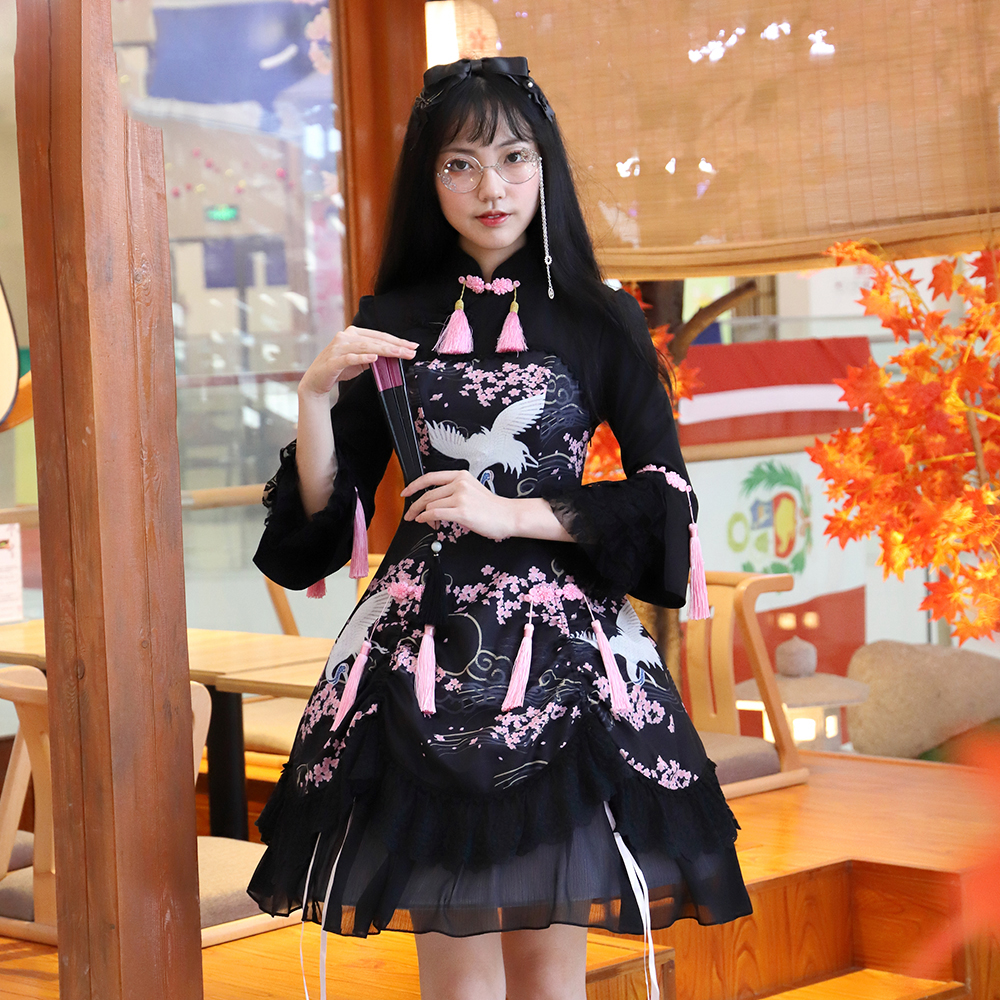 Gothique Lolita robe thé Party tenue chinois Cheongsam noir impression manches longues Halloween Costumes pour femmes douce Loli jupe