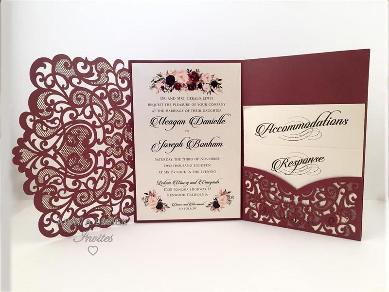 Marsala Burgundy Laser Cut Wedding Invitations Elegant Die Cut Laser Pocket With RSVP card