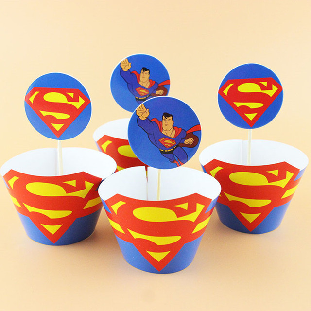 New Cartoon Hero Superman 12 Pcs Toppers 12 Pcs Wrappers Cake
