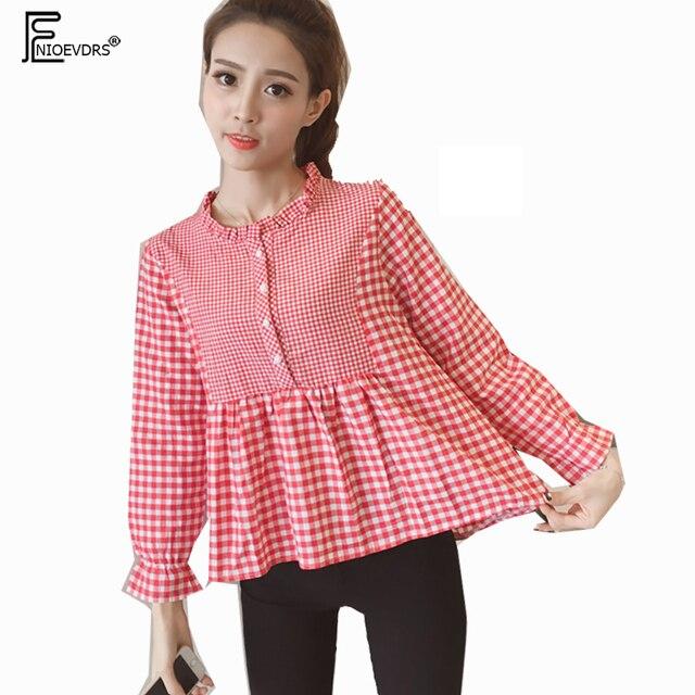 d5c23c3e6c Cute Sweet Tops New 2018 Fashion Japan Style Women Casual Blouses Shirt  Patchwork A Line Black