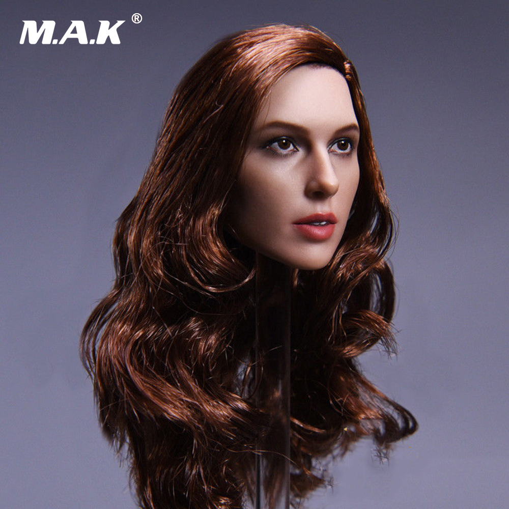 Collection 1/6 Female JX-09 Wonder Woman Gal Gadot Head Carved Model black Type Head Model brown hair F 12'' Action Figure Body gal hair 100% ght003