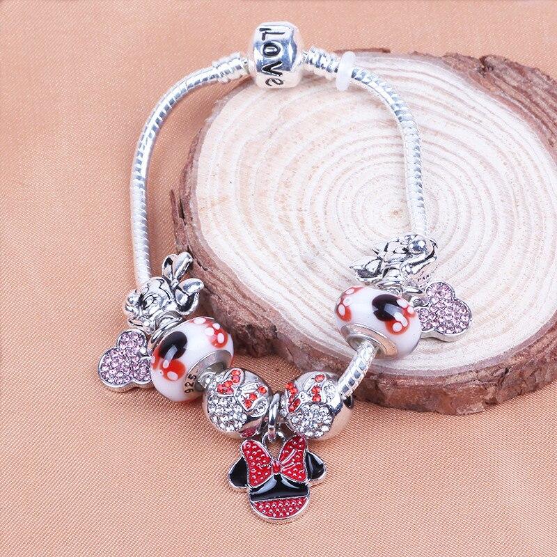 Couqcy 2019 Fashion Cartoon Charm Bracelet European Beads Mickey Minnie Bracelets For Women DIY Jewelry Christmas Gift