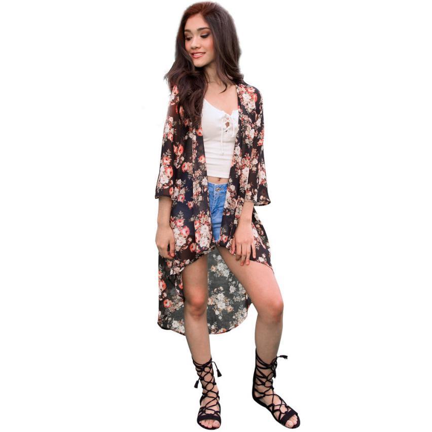 fc9f3e777f3 Floral Print Kimono Loose Cardigan Chiffon Blouses Shirt women Shawl Cover  up Camisetas mujer feminina Chiffon Bikini Cover Up