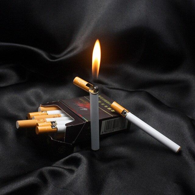 50 pcs Creative Mini Compact Jet Butane Lighter Metal Cigarette Shaped Inflatable Gas Cigarette No Gas