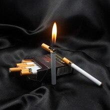 50 قطعة صغيرة الإبداعية المدمجة جت البيوتان أخف السجائر المعدنية على شكل نفخ السجائر الغاز لا الغاز