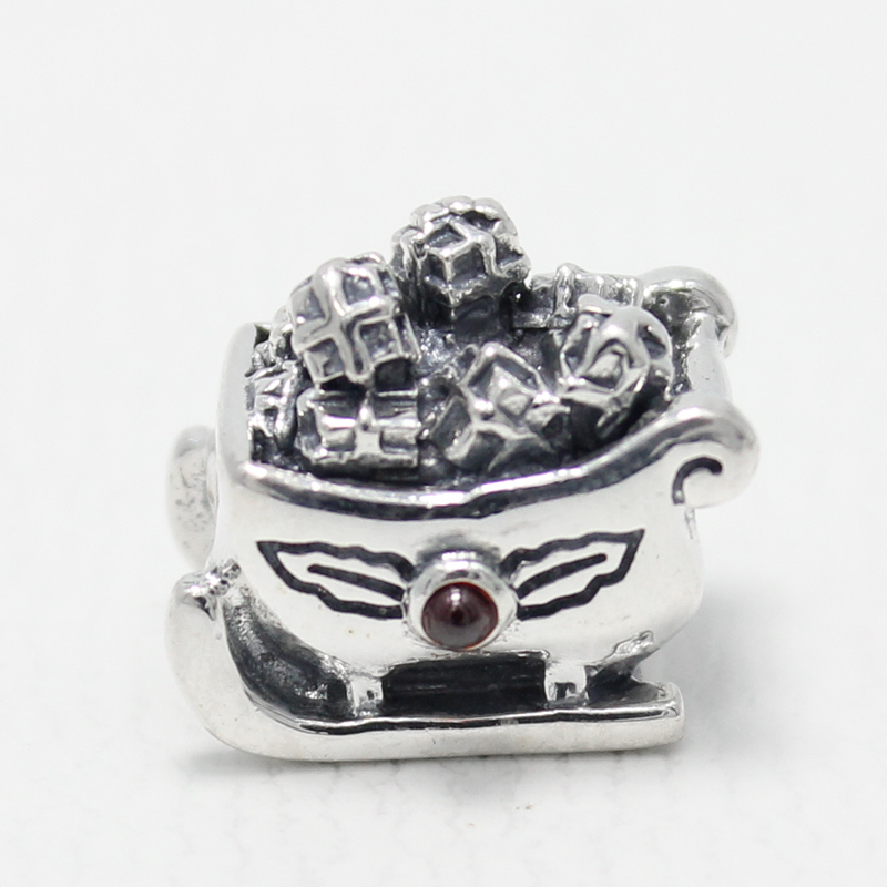 Home & Garden Cheap Sale Winter Collection Red Enamel 925 Real Silver Sleigh Man Charm Fitting European Famous Brand Silver Bracelet