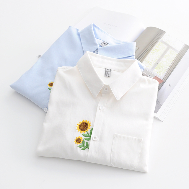 Dioufond Sunflower Embroidery Shirts Women Cotton White Blouses Long Sleeve Tops Female Cute Casual Autumn