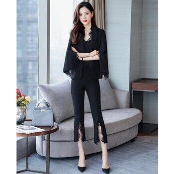 Women's suits are now popular new lace slim ladies suit two-piece suit (coat + pants) women's fashion elegant suits