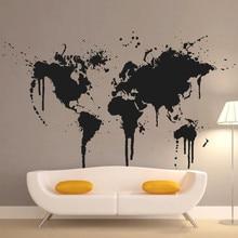 2016 Art New Design home decoration Spray Paint World Map Wall decals Creative house decor Vinyl Cheap removable sticker