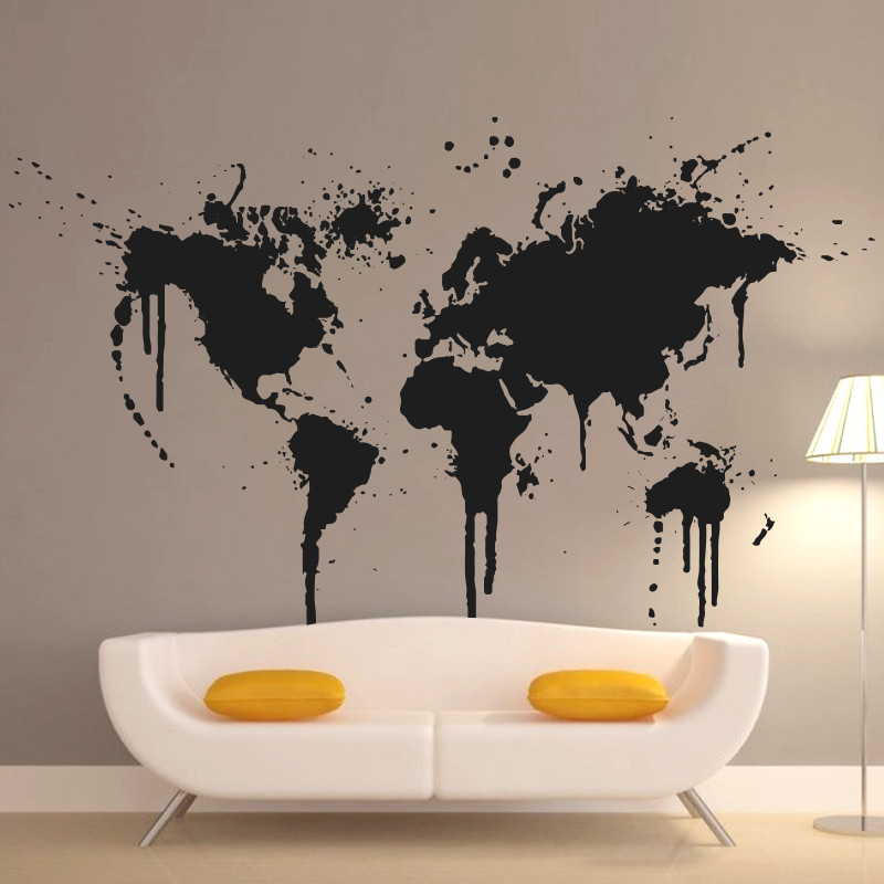 Kunst Ny Design Hjemmedekoration Spray Paint World Map Vægdekaler Kreativ husindretning Vinyl Billig aftagelig klistermærke