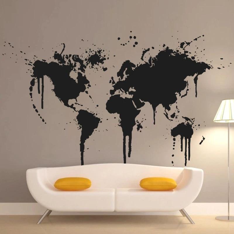 Art New Design Home Decoration Spray Paint World Map Wall Decals Creative House Decor Vinyl Cheap Removable Sticker Wall Decals Map Worldworld Map Aliexpress