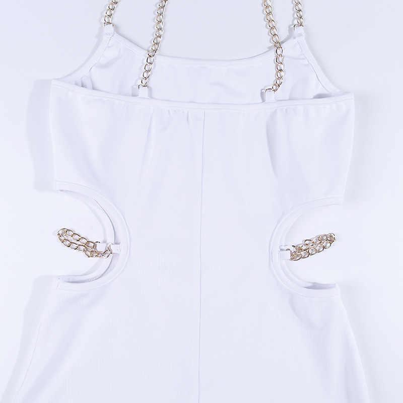 Toplook платье с цепочками сексуальное женское лето 2019 Спагетти ремень без рукавов выдалбливают черные мини платья Клубная вечеринка Сарафан