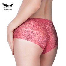 SKYHERO Underwear Women Panties Perspective Sexy Brand Full Transparent Panty Woman Lace Knickers Period Panty Plus