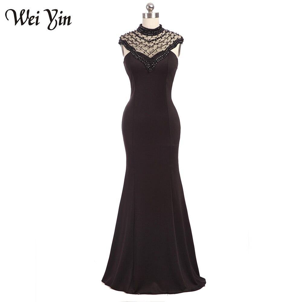 d11af1b3a9a WeiYin Новый Дизайн Мода Высокая шея Черный Русалка видеть сквозь назад  Бисер Вечерние платья Длинные вечерние Платья для вечеринок