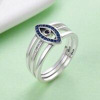 SHIQIER Genuine S925 925 Sterling Silver Turkey Blue Eyes Faith Finger Rings For Lady Wedding Engagement