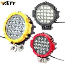 Yait 2 шт. черный/красный/желтый внедорожный светодиодный рабочий светильник 7 дюймов 63 Вт Светодиодный светильник для вождения точечный луч для atv suv 4x4 грузовик