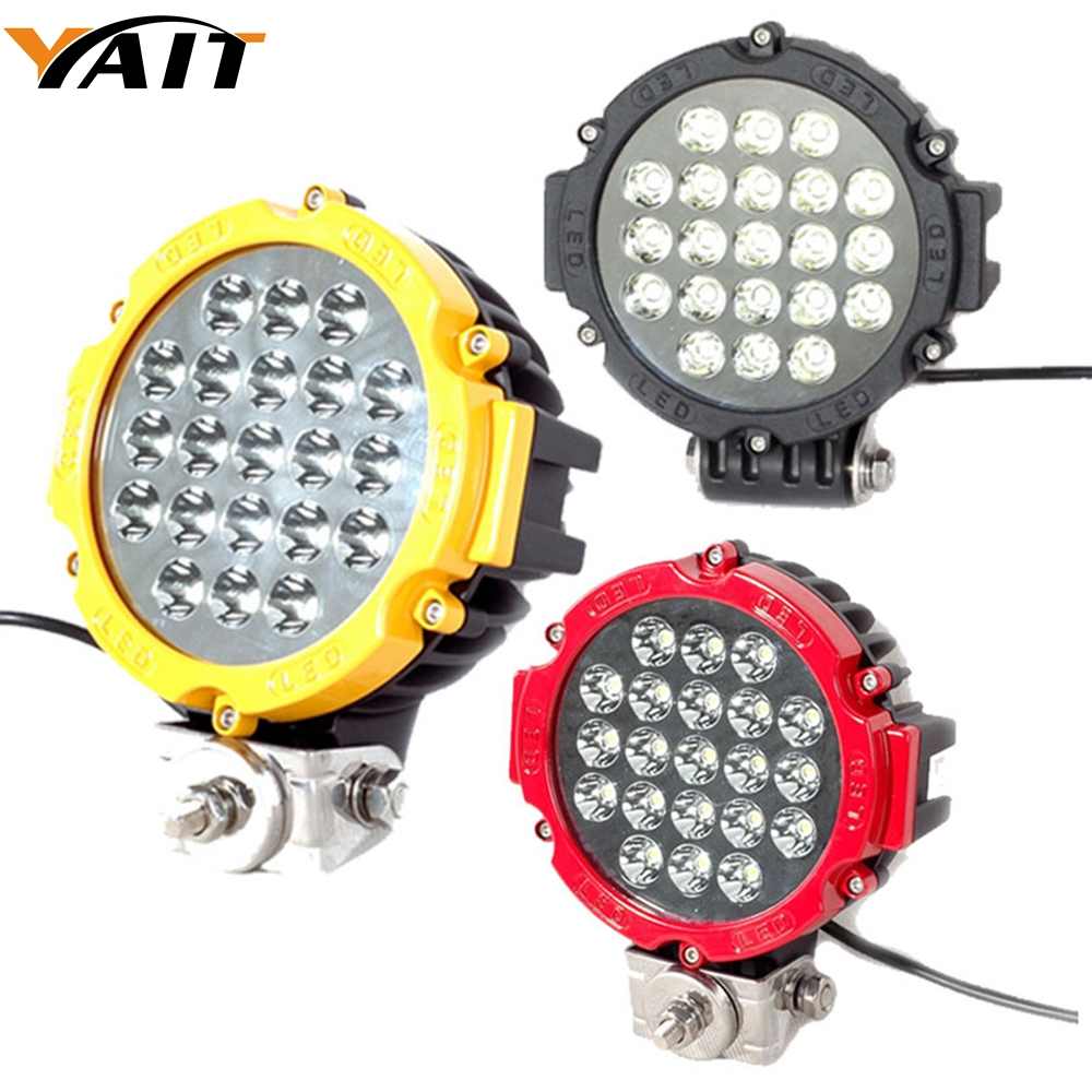 Yait 2PCS Black / Red / Yellow offroad Led Work light 7inch 63w Led Driving Light Spot Beam for atv suv 4x4 truck vehicle 7inch 90w red black led spot driving work light for atv 4x4 boat off road head light truck car 4wd suv led offroad ligh x1pc