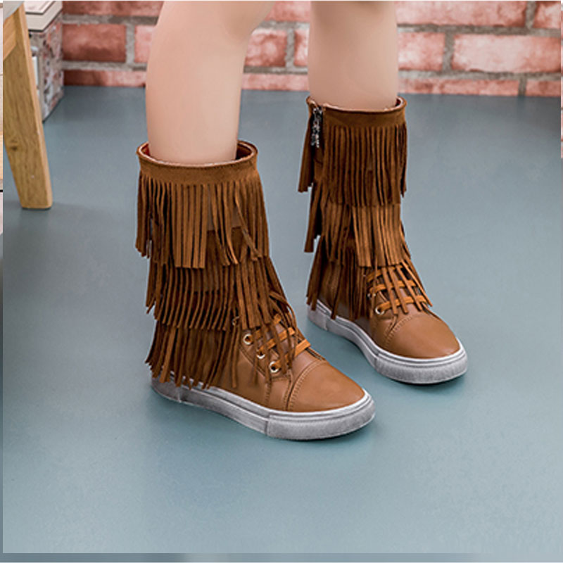 winter boots for girls fringe boots mid calf sneakers with light ...
