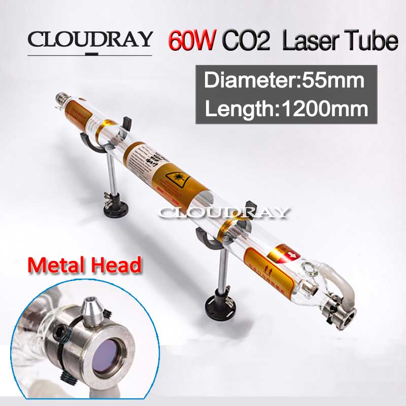 Cloudray 60W Laser Tube Glass Metal Head 60W 1200MM Diameter 55mm For CO2 Laser Engraving Cutting Machine 50w co2 glass laser tube l1000mm glass head laser lamp diameter 55mm for cnc co2 laser engraving cutting machine