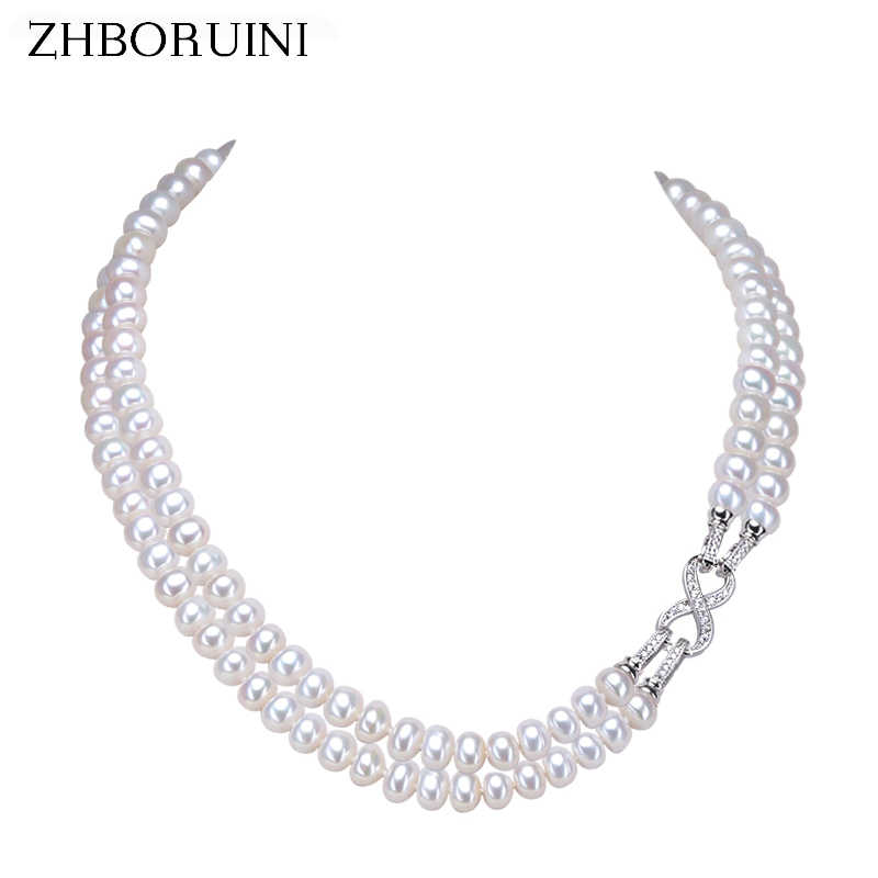 ZHBORUINI Fashion Long Pearl Necklace Freshwater Pearl Double Row Eight Women Statement Choker Necklace Jewelry For Women Gift