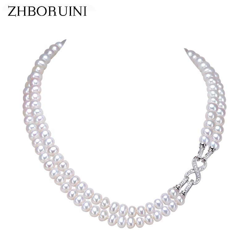 ZHBORUINI Fashion Long Pearl Necklace Freshwater Pearl Double Row Eight Women Statement Choker Necklace Jewelry For Women Gift zhboruini fashion long multilayer pearl necklace freshwater pearl tassels women accessories statement necklace jewelry for women