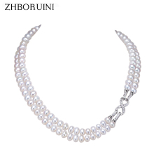 ZHBORUINI Fashion Long Pearl Necklace Freshwater Double Row Eight Women Statement Choker Jewelry For Gift