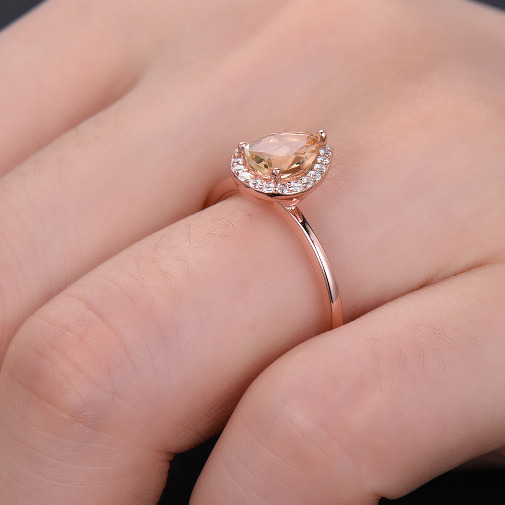 Yellow Citrine Engagement Ring 14k Rose Gold Pear Shape Diamond Halo ...